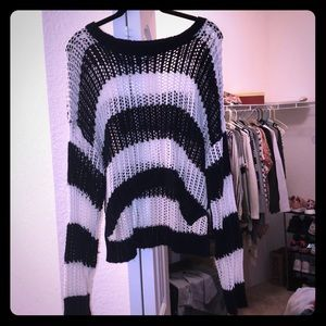 Sweaters - High- low navy blue and white crocheted sweater.
